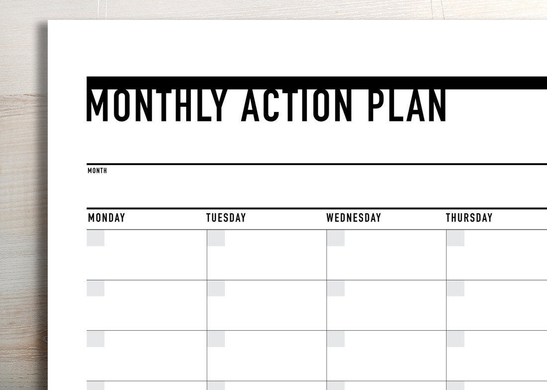 graphic regarding Planner Printable known as Printable Month to month Phase Planner / Schedule (landscape)
