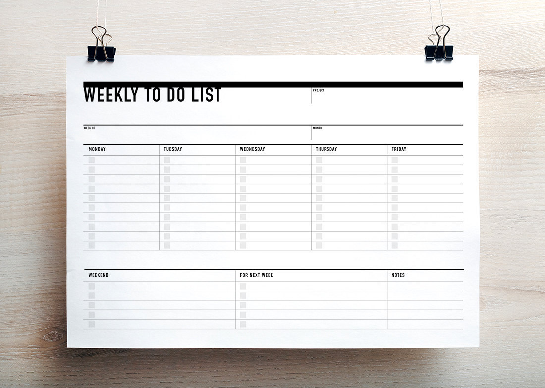 photo relating to Weekly to Do List Printable titled Printable Weekly Towards Do Listing
