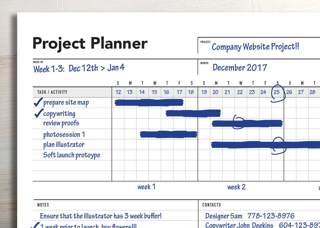 ultimate project planner gantt chart rumble design store