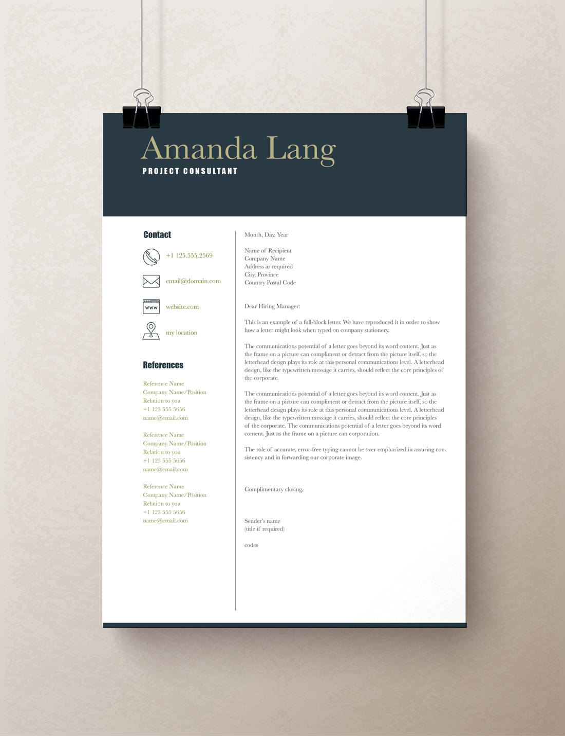 Modern Resume Template, Professional Resume Template Word