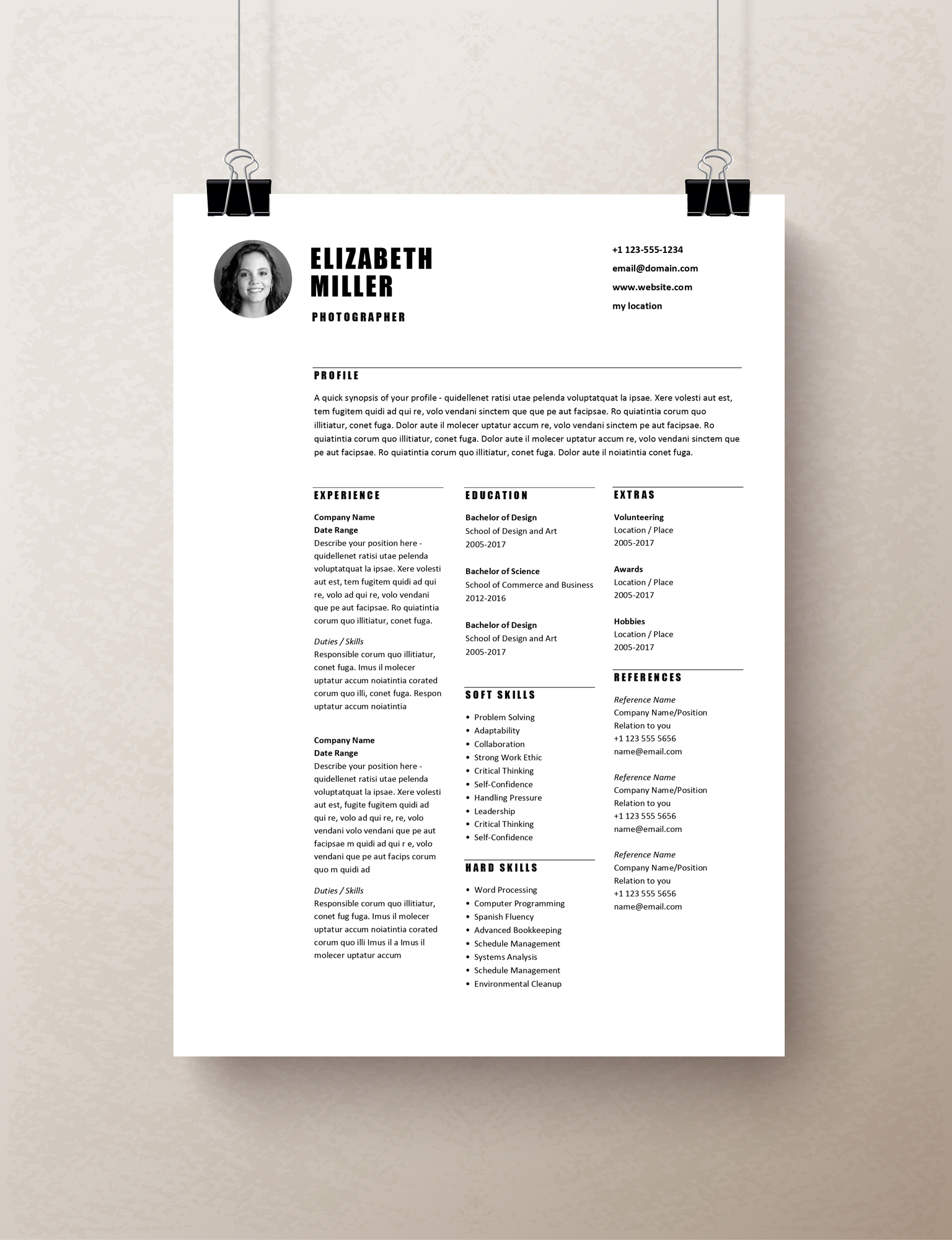 Simple Resume Template Word, Curriculum Vitae