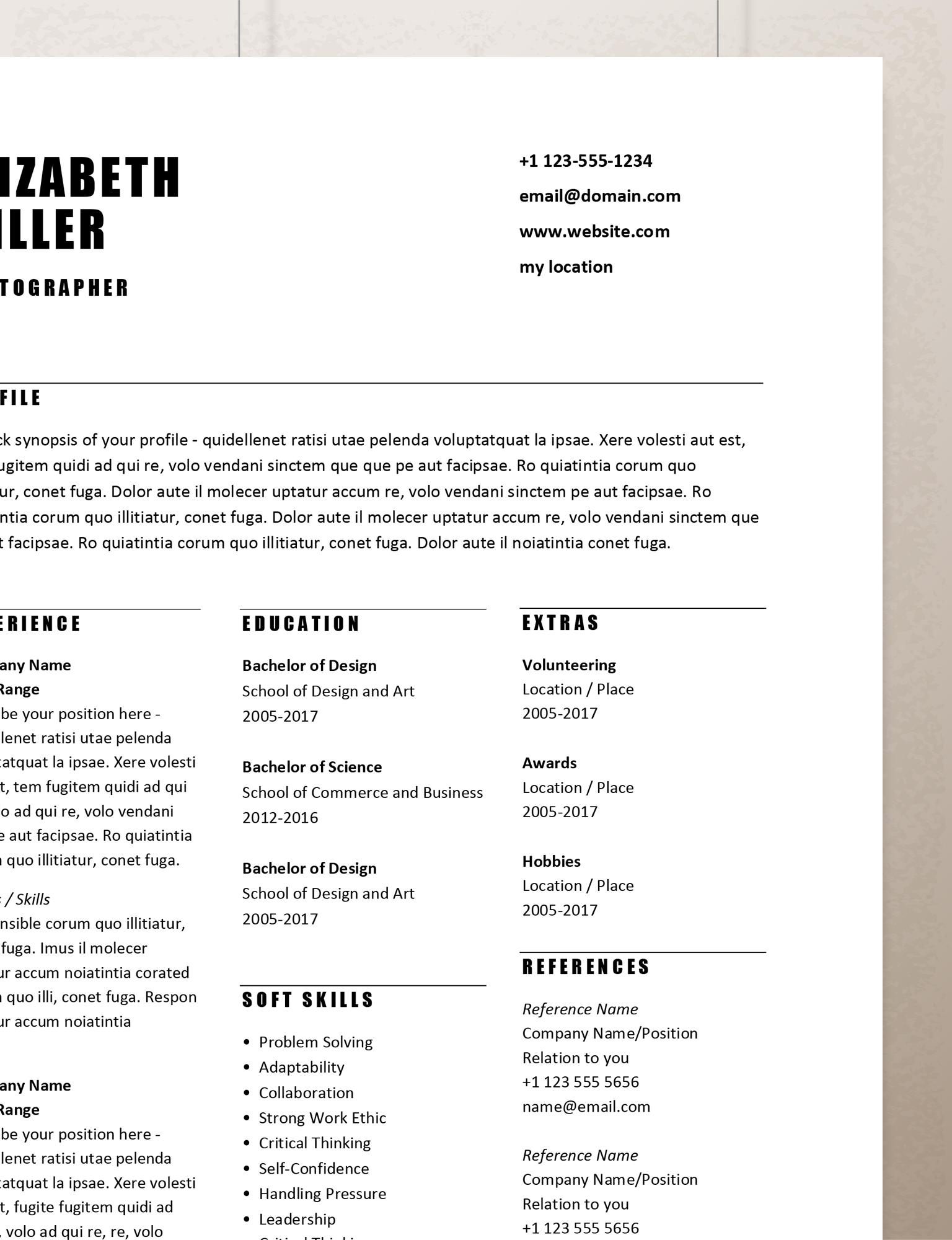 Simple Resume Template Word, Curriculum Vitae