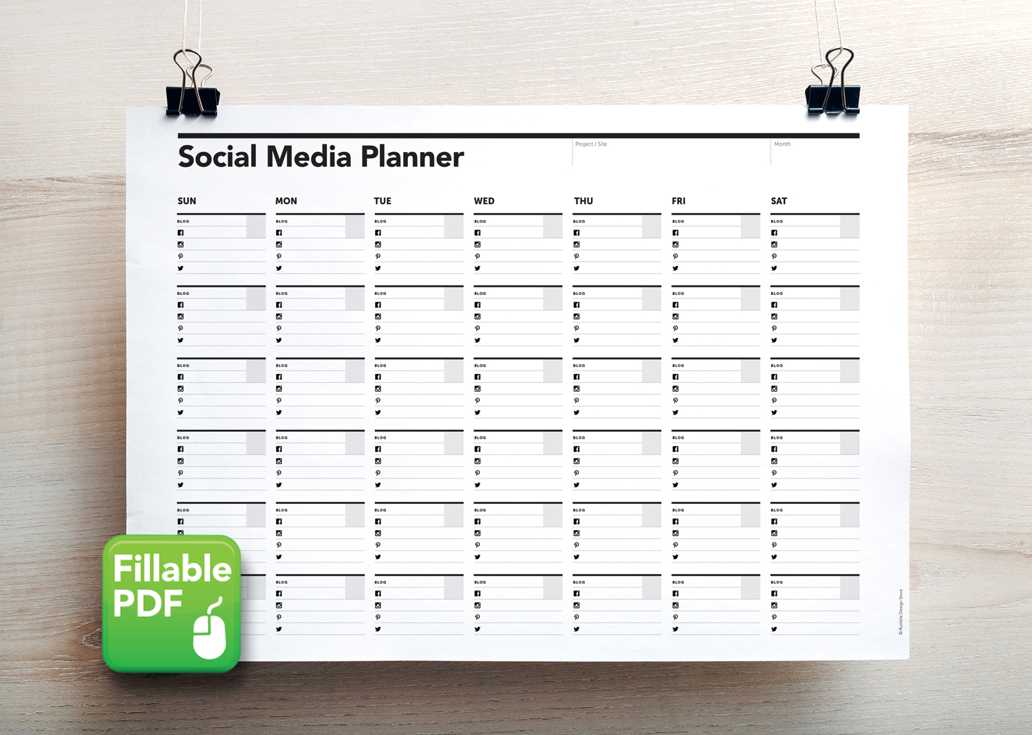 graphic about Blog Planner Template identify Social Media Calendar / Planner