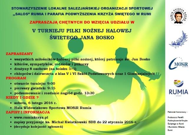 2016 Turniej św. Jana Bosko - plakat