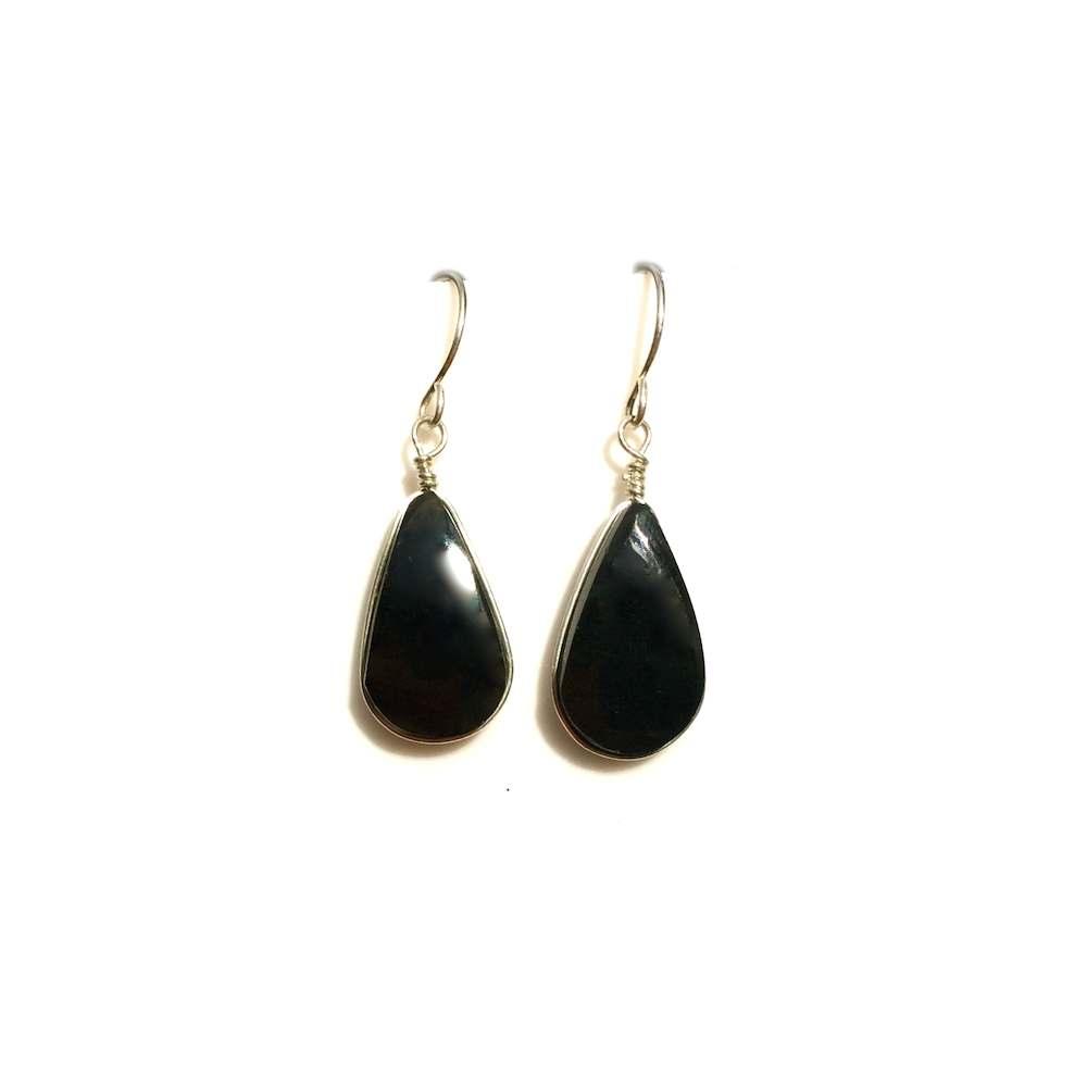 Black Obsidian Earrings Drop Stones Sterling Silver