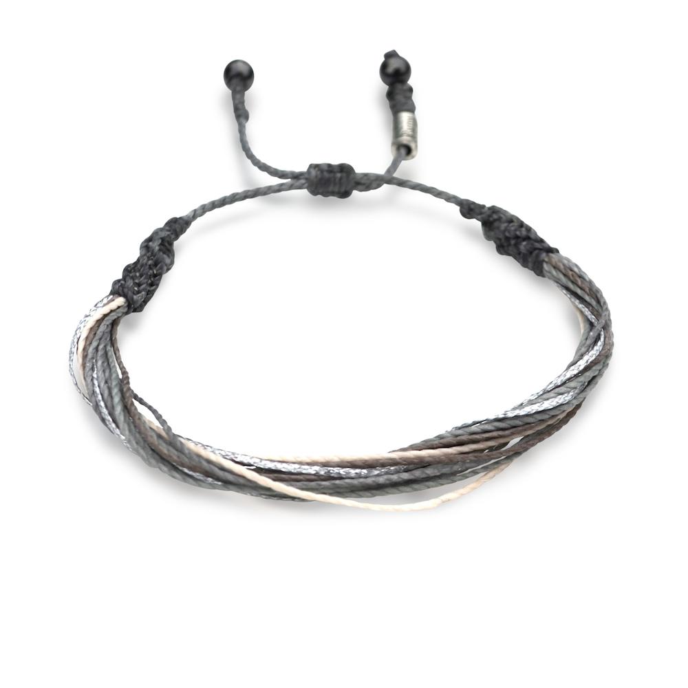 String Surfer Bracelet Grey Silver Multi: Hand-Knotted