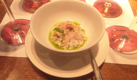 almon tartare marinated in coconut milk, lime juice, shallot and coriander