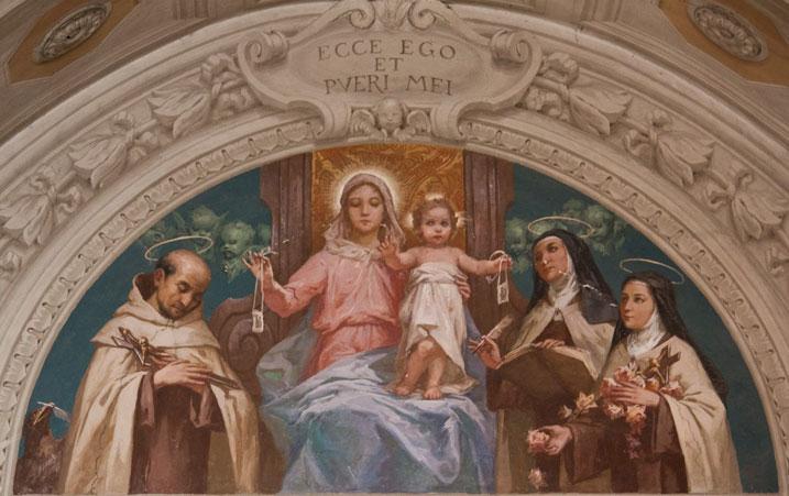 Nossa Senhora do Carmo e os Santos Carmelitas: São João da Cruz, Santa Teresa de Ávila e Santa Teresinha do Menino Jesus e da Sagrada Face