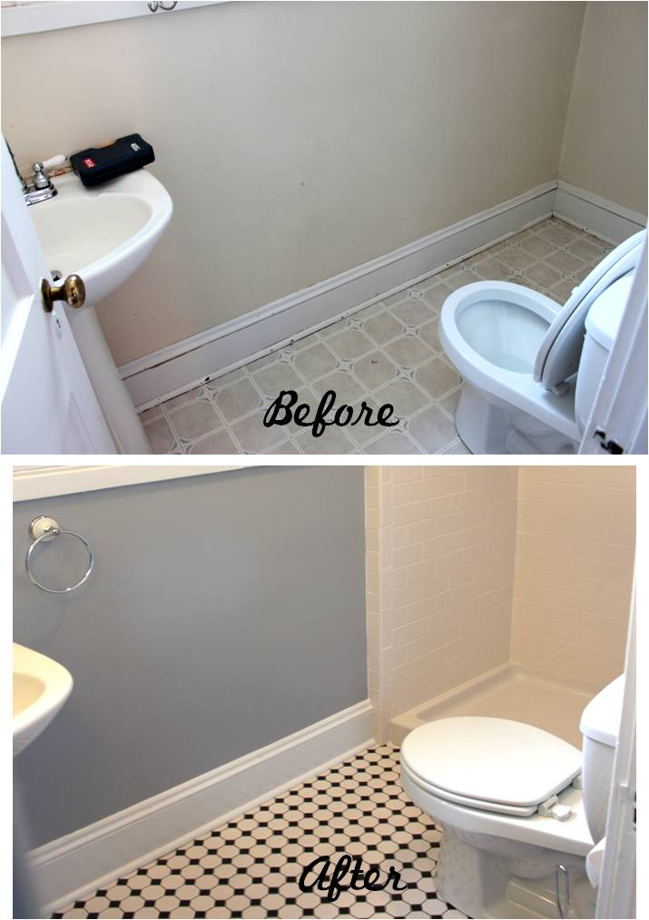 Bathroom Reveal Turning a ugly halfbath into a charming full bath  Rumore Has It