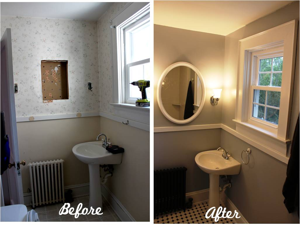 Bathroom Reveal Turning a ugly halfbath into a charming