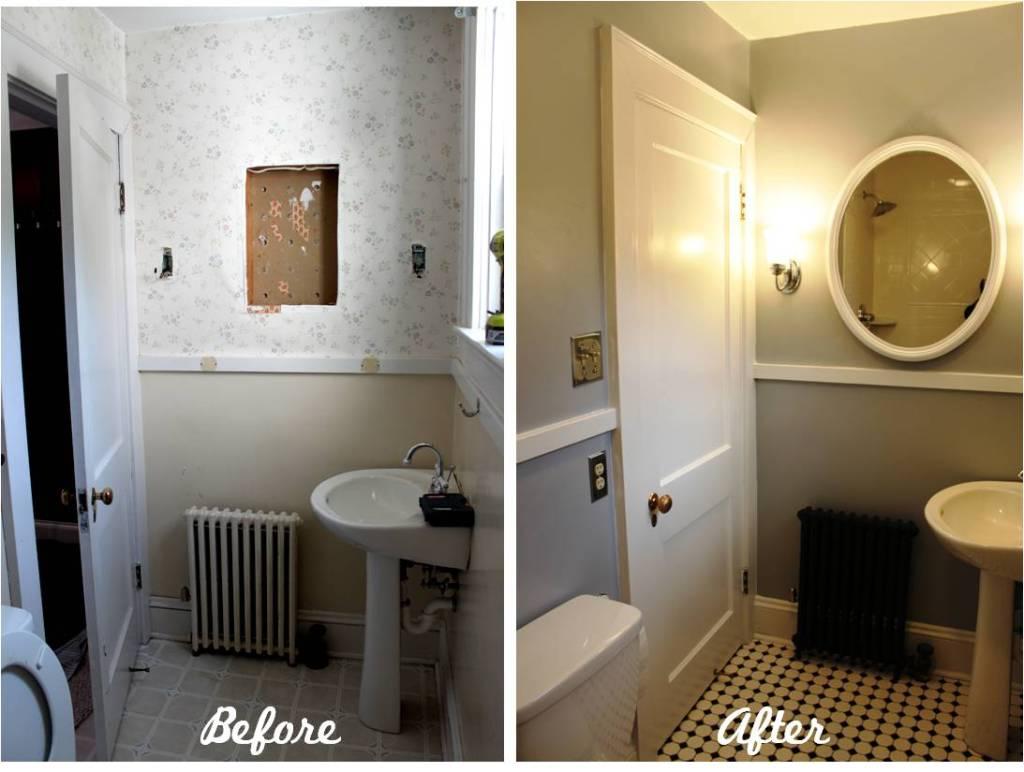Wallpaper Falling Off Wall Bathroom Reveal Turning A Ugly Half Bath Into A Charming