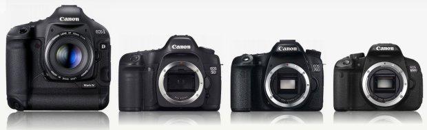 Contoh DSLR dari level high-end hingga entry-level : Canon 1D, 5D, 70D dan 650D