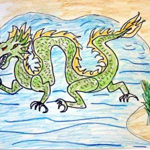 Chinese Water Dragon Drawing