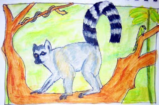 Drawing of a Lemur standing on a tree branch