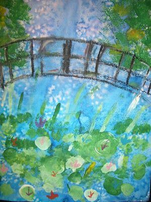 Painting of Monet Waterlilies and Japanese Bridge