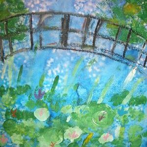 Monet Waterlilies and Japanese Bridge Watercolor