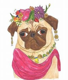Frida Kahlo pug drawing