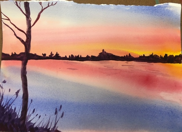 Watercolor painting of a sunset on the lake