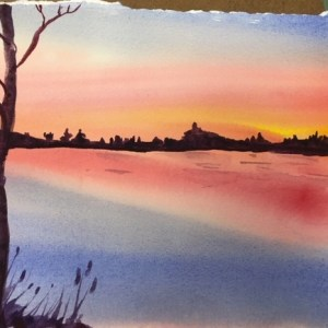 Watercolor Sunset/Sunrise Project with MaryLeah Marshall