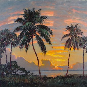 Albert Backus oil painting of sunset on the Indian River