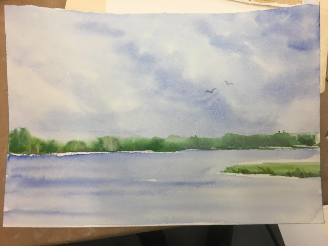 lakefront watercolor painting