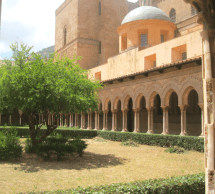 The cloisters of Monreale, with an Arabic-style fountain and Arabic mosaics