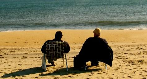 On the beach with my buddy. Photo/Elaine Van Develde