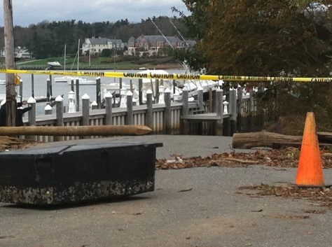 Fair Haven Dock after Sandy ripped out chunks of it. Photo/Elaine Van Develde