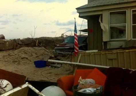 A little patriotism stands tall after Sandy flattened everything around it. Photo/Elaine Van Develde