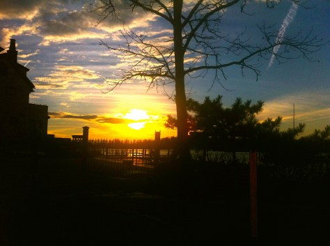 Sunset in Rumson's West Park after Sandy. Photo/Elaine Van Develde
