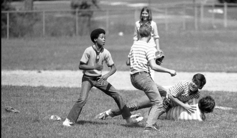 RFH Class of '78 friends play some casual catch have some laughs. Photo/George Day