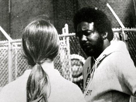Former RFH Social Studies teacher and coach Dewey Robinson coaching track. Photo/RFH yearbook screenshot