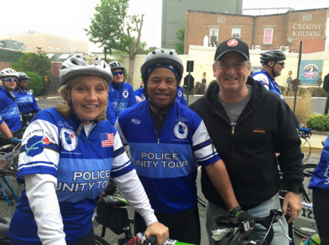 NJ Lt. Gov. Kim Guadagno, Fair Haven Police Chief Darryl Breckenridge and Mayor Ben Lucarelli at the start of the Police Unity Tour in Red Bank on May 9. Photo/courtesy of Ben Lucarelli