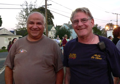 Frank Leslie and Andy Schrank on the last night of the Fair Haven Firemen's Fair. Photo/Elaine Van Develde