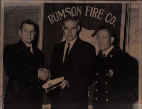 Rumson Fire Department line officers Joseph Brennan Slocum (chief), Bill Murphy and Kenneth Patrick Marass circa 1965. Photo/courtesy of Jo Ann Slocum Mazzucca