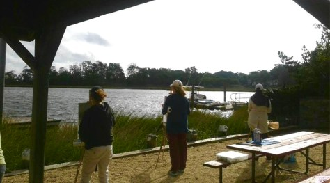 Painting the scene down by the river in Rumson Photo/Jenifer Weber Zeller