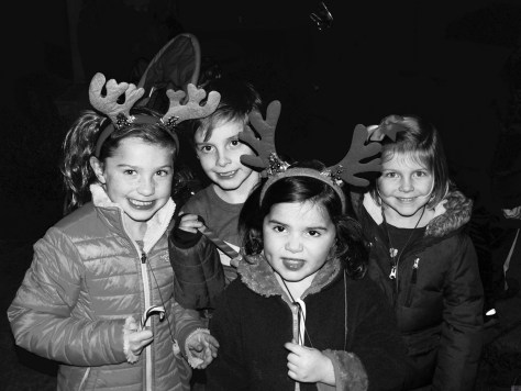 Reindeer games with the girls and a guy at Fair Haven's tree lighting 2015 Photo/Elaine Van Develde