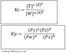 persamaan kc dan kp pada reaksi kesetimbangan kimia