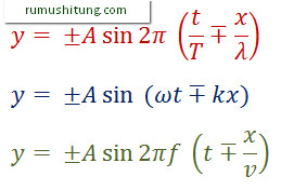 y= ±A sin〖2π (t/T∓x/λ)〗 y= ±A sin〖 (ωt∓kx)〗 y= ±A sin〖2πf (t∓x/v)〗