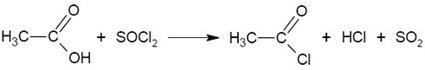 reaksi dengan tionil diklorida