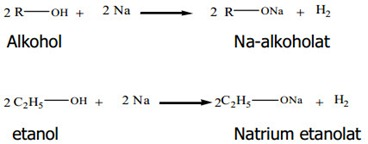 reaksi alkohol dengan na dan K