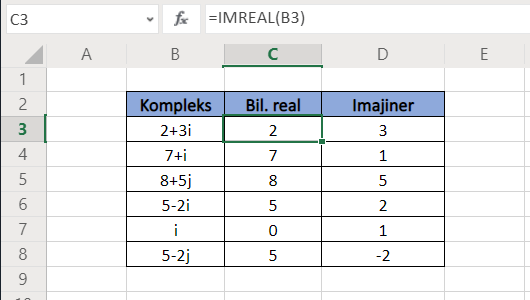 Fungsi Excel IMREAL