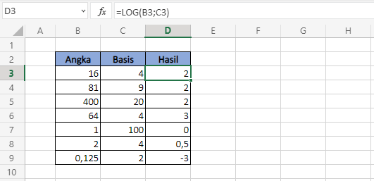 Fungsi Excel LOG