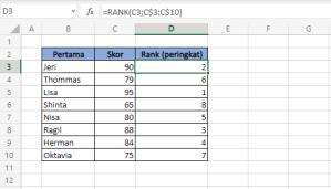 Rumus Excel : Gabungan Rumus Rank