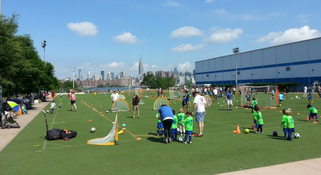 Mini soccer players at Bushwick Inlet Park
