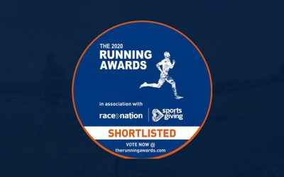 2020 Running Awards shortlisted logo on a blue background