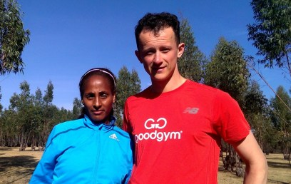Asellefech Mergia & visiting runner / partner Ivo Gormley from the UK