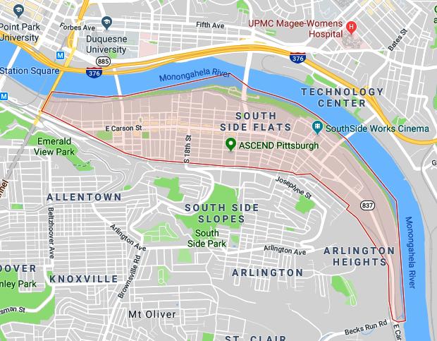 Map Highlighting the Southside Flats Neighborhood of Pittsburgh