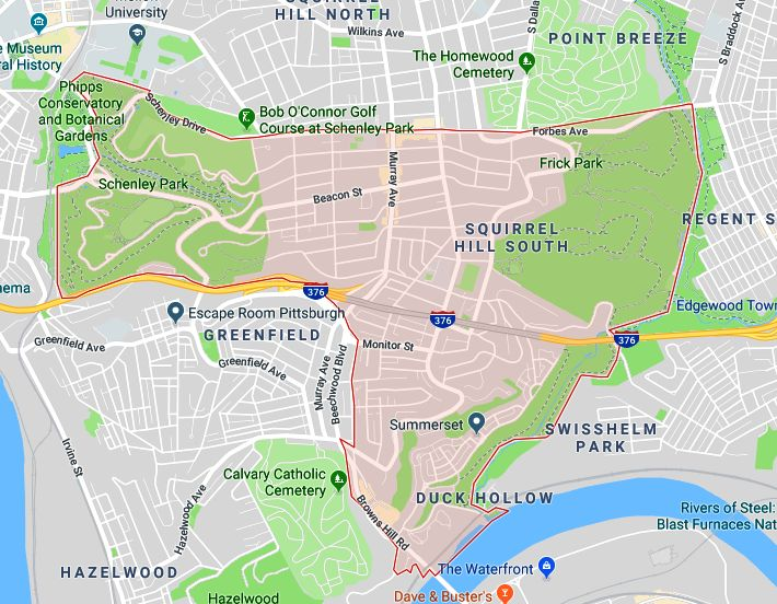 Map of the Squirrel Hill South neighborhood of Squirrel Hill South.