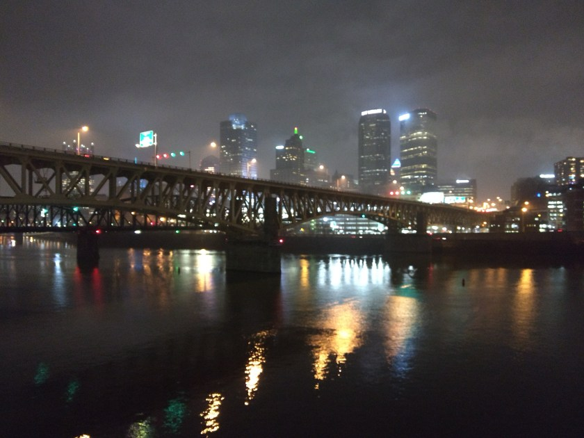Lights of downtown Pittsburgh on a foggy night as seen from the Terminal Building across the Monongahela River.